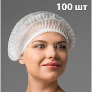 Одноразовая шапочка Шарлотка ( гармошка ) белая 100 шт., фото 1