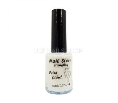 Nail Story лак для стемпінгу білий1 мл, фото 1