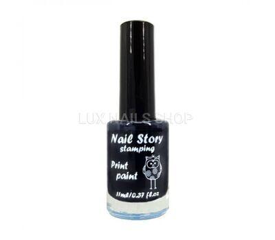 Nail Story лак для стемпінгу чорний 11 мл, фото 1
