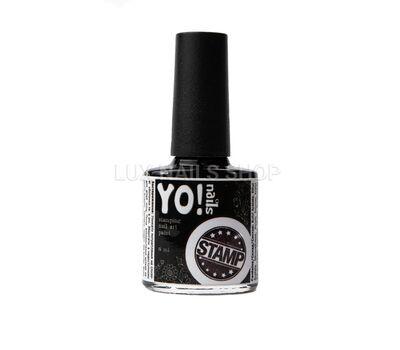 Лак для стемпінгу YO!nails чорний 8мл, фото 1